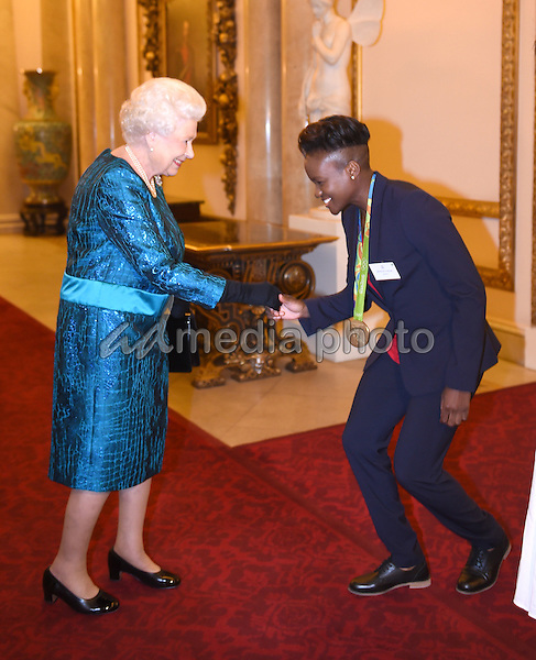 18 October 2016 - London, England - Queen Elizabeth II and Nicola Adams at a reception for Team GB and ParalympicsGB medallists from the 2016 Rio Olympic and Paralympic Games Buckingham Palace London. Photo Credit: Alpha Press/AdMedia