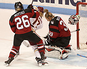 Heather Mottau (NU - 26), Delaney Belinskas (BC - 17), Brittany Bugalski (NU - 39) - The Boston College Eagles defeated the Northeastern University Huskies 2-1 to win the Beanpot on Monday, February 7, 2017, at Matthews Arena in Boston, Massachusetts.