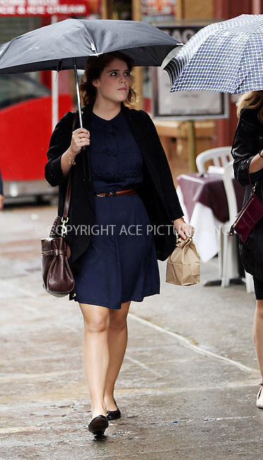 WWW.ACEPIXS.COM<br /> <br /> October 7 2013, New York City<br /> <br /> British Princess Eugenie heads out for lunch with friends from her job at Paddle8 online auction house on October 7 2013 in New York City<br /> <br /> By Line: Zelig Shaul/ACE Pictures<br /> <br /> <br /> ACE Pictures, Inc.<br /> tel: 646 769 0430<br /> Email: info@acepixs.com<br /> www.acepixs.com