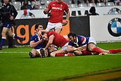 February 1st 2019, St Denis, Paris, France: 6 Nations rugby tournament, France versus Wales;  Tomos Williams (wal) goes over to score his try for Wales