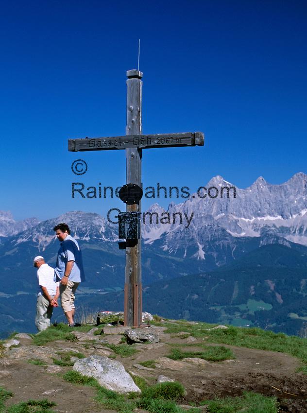 Austria, Styria, Reiteralm Panorama Trail: at peak of Gassel-Hoeh mountain (2.001m) - background Dachstein mountains