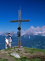 Austria, Styria, Reiteralm Panorama Trail: at peak of Gassel-Hoeh mountain (2.001m) - background Dachstein mountains