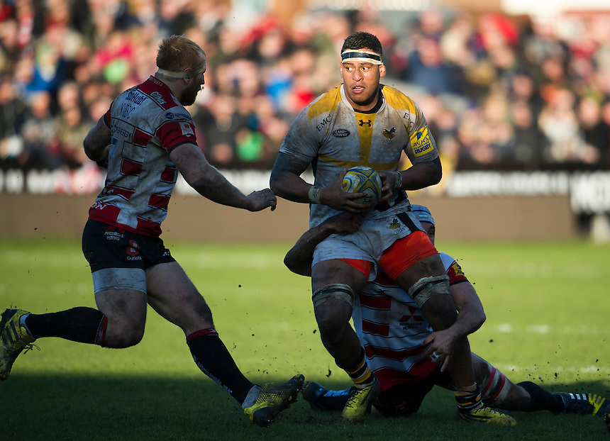 Wasps' Nathan Hughes in action during todays match<br /> <br /> Photographer Ashley Western/CameraSport<br /> <br /> Rugby Union - Aviva Premiership Round 15 - Gloucester Rugby v Wasps - Saturday 5th March 2016 - Kingsholm Stadium - Gloucester<br /> <br /> &copy; CameraSport - 43 Linden Ave. Countesthorpe. Leicester. England. LE8 5PG - Tel: +44 (0) 116 277 4147 - admin@camerasport.com - www.camerasport.com