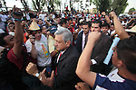 Leftist leader Andres Manuel Lopez Obrador arrives at the demonstration to support the electrical workers union that fight against the dissolution of the Luz y Fuerza del Centro (LFC) company in front of the Mexican Congress, October 12, 2009. More than sixty thousand workers demand the Calderon's action as illegal and unconstitutional. The Electrical Workers Union (SME) is an union since 1914 and it has leading historic workers struggles in Mexico. Photo by Heriberto Rodriguez