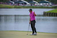 Brooks Koepka (USA) after sinking his par putt on 18 to tie the course record at 63 during round 4 of The Players Championship, TPC Sawgrass, at Ponte Vedra, Florida, USA. 5/13/2018.<br /> Picture: Golffile | Ken Murray<br /> <br /> <br /> All photo usage must carry mandatory copyright credit (&copy; Golffile | Ken Murray)