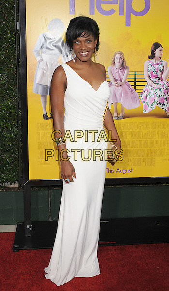"Edwina Findley.arriving at the Los Angeles Premiere of ""The Help"" at the Samuel Goldwyn Theater inside the Academy of Motion Picture Arts and Sciences in Beverly Hills, California, USA, August 9th 2011..full length white dress long maxi one shoulder .CAP/ROT/TM.©TM/Roth Stock/Capital Pictures"