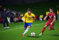Brazil's Joao Pedro in action during the FIFA Under-20 Football World Cup Final between Brazil (gold) and Serbia at North Harbour Stadium, Albany, New Zealand on Saturday, 20 June 2015. Photo: Dave Lintott / lintottphoto.co.nz