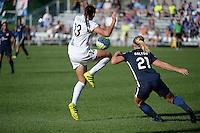Kansas City, MO - Sunday September 04, 2016: Brittany Taylor, Leah Galton during a regular season National Women's Soccer League (NWSL) match between FC Kansas City and the Sky Blue FC at Swope Soccer Village.