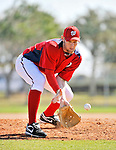 19 February 2011: Washington Nationals' pitcher Stephen Strasburg works on fielding drills at the Carl Barger Baseball Complex in Viera, Florida. Mandatory Credit: Ed Wolfstein Photo