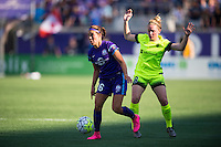 Orlando, Florida - Sunday, May 8, 2016: Orlando Pride midfielder Samantha Witteman (26) protects the ball from Seattle Reign FC midfielder Kim Little (8) during a National Women's Soccer League match between Orlando Pride and Seattle Reign FC at Camping World Stadium.