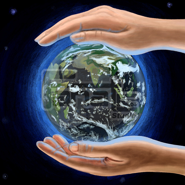 Illustration of human hands protecting globe