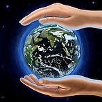 Illustration of human hands protecting globe