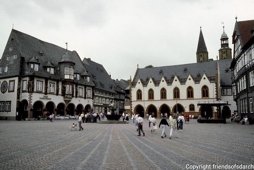 Goslar: Marktplatz.  23MM to left, Kaiserworth; to right, Town Hall--both 15th century.