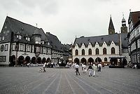 Goslar: Marktplatz.  23MM to left, Kaiserworth; to right, Town Hall--both 15th century.