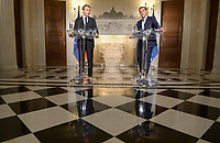 Pictured: (L-R) French President Emmanuel Macron and Greek Prime Minister Alexis Tsipras at Maximos Mansion in Athens, Greece. Thurday 07 September 2017<br />