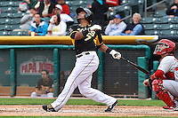 Luis Jimenez (7) of the Salt Lake Bees at bat against the Memphis Redbirds at Smith's Ballpark on June 18, 2014 in Salt Lake City, Utah.  (Stephen Smith/Four Seam Images)