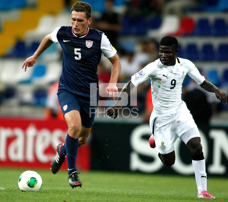 Ghana's Francis Narh (R) and USA's Shane O Neill (L) during their FIFA U-20 World Cup Turkey 2013 Group Stage Group A soccer match Ghana betwen USA at the Kadir Has stadium in Kayseri on June 27, 2013. Photo by Aykut AKICI/isiphotos.com