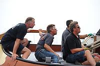 ZEILEN: FRYSLÂN: 2014, SKS skûtsjesilen, skûtsje Ut 'e Striid, Langweer, schipper Johannes Meeter, ©foto Martin de Jong