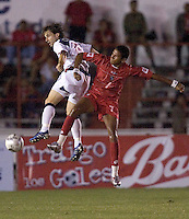 Bobby Convey goes up for a header against Engin Mitre as the USA defeated Panama 3-0 in final round World Cup qualifying at Estadio Rommel Fernandez, Panama City, Panama, on June 8, 2005.