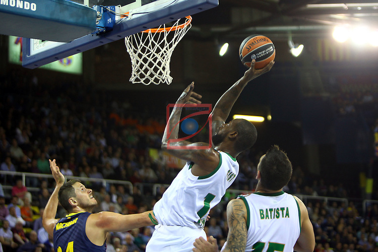 Euroleague Basketball-Regular Season Round 5.<br /> FC Barcelona vs Panathinaikos Athens: 78-69.<br /> Bostjan Nachbar, James Gist &amp; Esteban Batista.