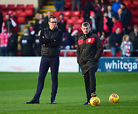 Crewe Alexandra manager David Artell, left, during the pre-match warm-up with Kenny Lunt<br /> <br /> Photographer Andrew Vaughan/CameraSport<br /> <br /> The EFL Sky Bet League Two - Crewe Alexandra v Lincoln City - Wednesday 26th December 2018 - Alexandra Stadium - Crewe<br /> <br /> World Copyright &copy; 2018 CameraSport. All rights reserved. 43 Linden Ave. Countesthorpe. Leicester. England. LE8 5PG - Tel: +44 (0) 116 277 4147 - admin@camerasport.com - www.camerasport.com