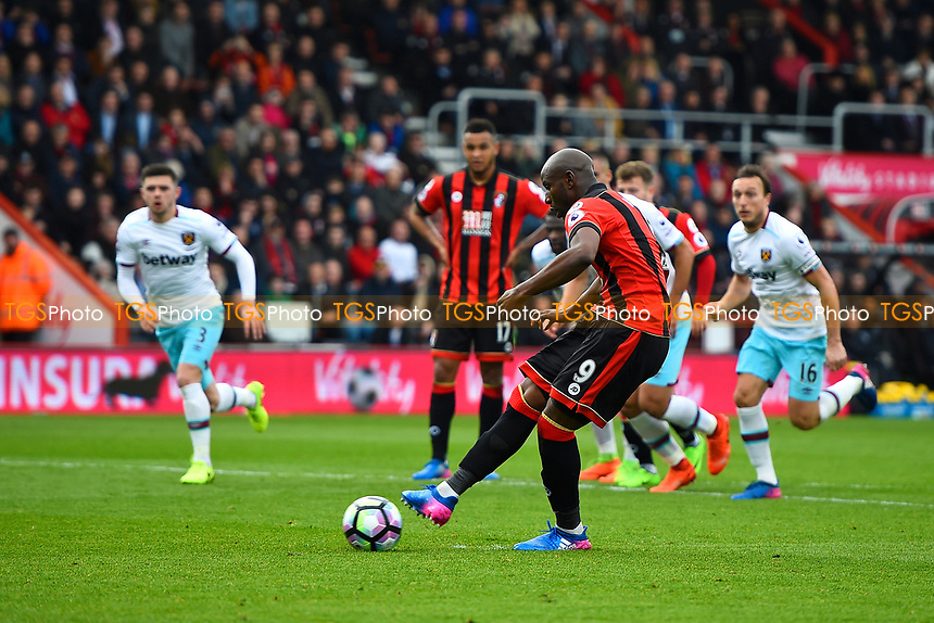 Benik Afobe of AFC Bournemouth takes a penalty but fails to score during AFC Bournemouth vs West Ham United, Premier League Football at the Vitality Stadium on 11th March 2017
