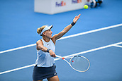 9th January 2018, Sydney Olympic Park Tennis Centre, Sydney, Australia; Sydney International Tennis, round 1; Elena Vesnina (RUS) prepares to serve in her match against Dominika Cibulkova (SVK)