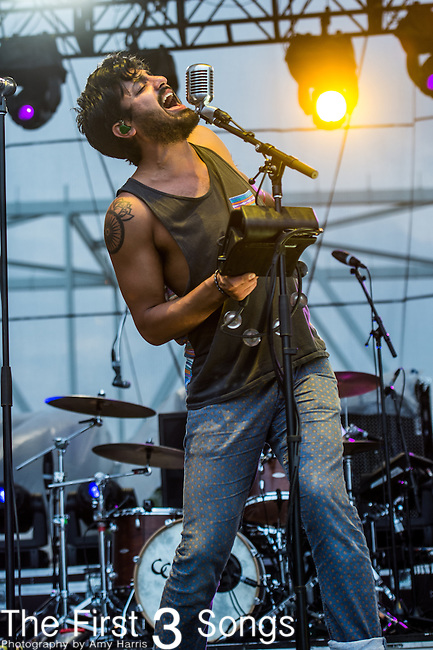 Sameer Gadhia of Young the Giant performs at the 2014 Bunbury Music Festival in Cincinnati, Ohio
