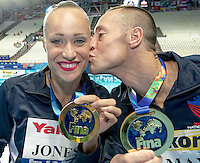 JONES Christina, MAY Bill USA United States of Americagold meda<br /> Kazan Arena Synchro Sincro Mixed Duet Technical Final<br /> Day03 26/07/2015<br /> XVI FINA World Championships Aquatics Swimming<br /> Kazan Tatarstan RUS July 24 - Aug. 9 2015 <br /> Photo G.Scala/Deepbluemedia/Insidefoto