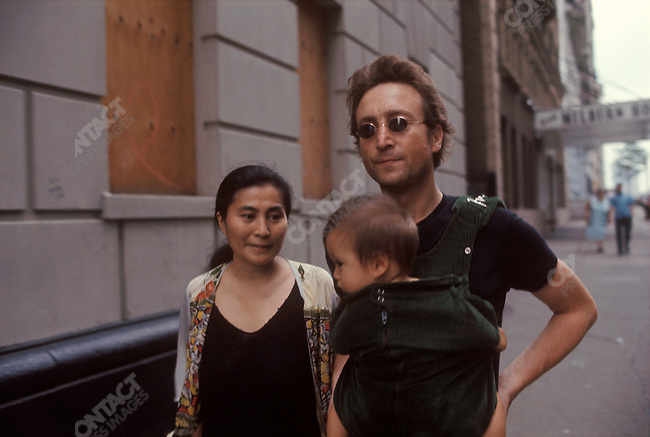 John Lennon Yoko Ono And Sean Near Their Apartment On The Upper West Side