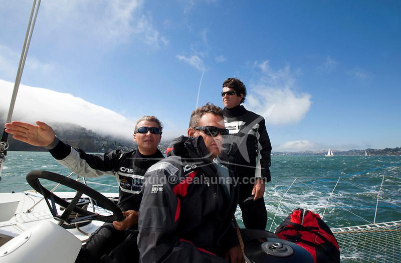 Onboard L'Hydroptère DCNS, Alain Thébault and his crew (Jacques Vincent, Yves Parlier, Jean Le Cam, Robert Douglas) sailing in San Francisco, California, USA.