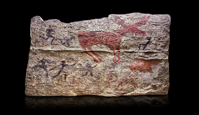 Fresco of human figures around a deer. None of the figures carry weapons and some a dressed in leopard costumes. The figures seem to be trying to hold on or touch the deer amd one figure appears to be holding its tongue. 6000 BC, Catalhoyuk Collections. Museum of Anatolian Civilisations, Ankara. Against a black background