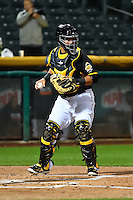 Juan Graterol (34) of the Salt Lake Bees on defense against the Fresno Grizzlies in Pacific Coast League action at Smith's Ballpark on April 13, 2016 in Salt Lake City, Utah. The Grizzlies defeated the Bees 6-0. (Stephen Smith/Four Seam Images)
