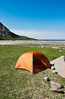 Tent camping campsite at Bunes Beach, Lofoten islands, Norway