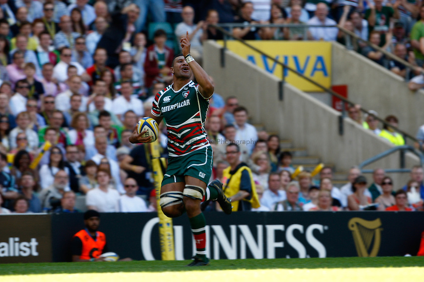 Photo: Richard Lane/Richard Lane Photography. Harlequins v Leicester Tigers. Aviva Premiership Final. 26/05/2012. Tigers' Steve Mafi celebrates as he runs in for a try.