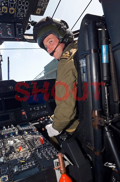 At the controls of this Royal Navy search and rescue sea king helicopter. This image may only be used to portray the subject in a positive manner..©shoutpictures.com..john@shoutpictures.com