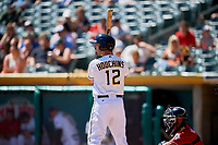 Zach Houchins (12) of the Salt Lake Bees bats against the Albuquerque Isotopes at Smith's Ballpark on April 22, 2018 in Salt Lake City, Utah. The Bees defeated the Isotopes 11-9. (Stephen Smith/Four Seam Images)
