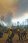 Greeley Hill, California-- July 30, 2008-Telegraph Fire-Wildfires Threaten Yosemite National Park. Kern County Hot Shot fire Crew return after shift of cutting fire line on Division L.  Division L is on the leading edge of the fire and is threatening Greeley Hill..Photo by Al GOLUB/Golub Photography