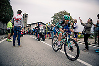 Cesare Benedetti (ITA/Bora-Hansgrohe) at the top of the Madonna del Ghisallo (754m)<br /> <br /> 113th Il Lombardia 2019 (1.UWT)<br /> 1 day race from Bergamo to Como (ITA/243km)<br /> <br /> ©kramon