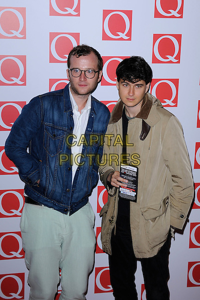 Vampire Weekend<br /> attending the Q Awards, Grosvenor House Hotel, London, England.<br /> 21st October 2013<br /> half length jacket blue beige glasses jeans denim band group<br /> CAP/MAR<br /> &copy; Martin Harris/Capital Pictures