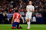 Jose Maria Gimenez of Atletico de Madrid and Gareth Bale of Real Madrid during La Liga match between Atletico de Madrid and Real Madrid at Wanda Metropolitano Stadium in Madrid, Spain. September 28, 2019. (ALTERPHOTOS/A. Perez Meca)