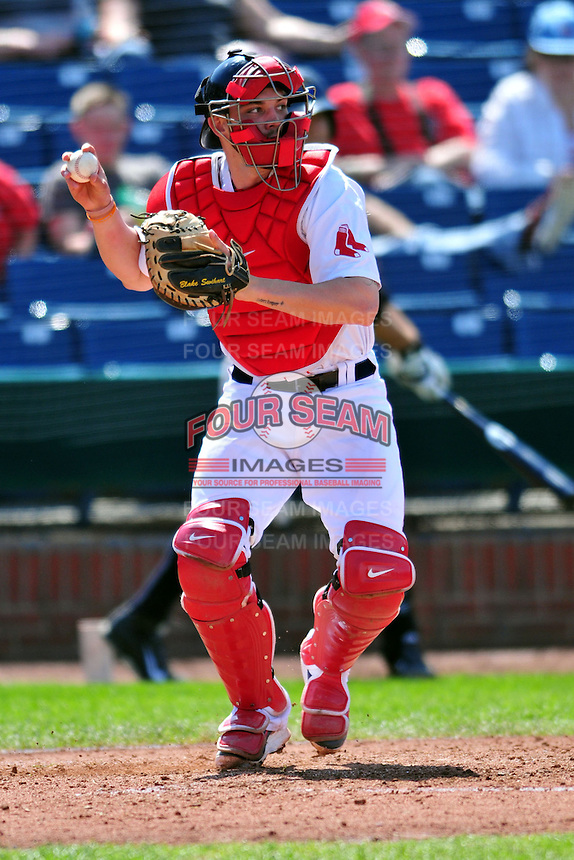 Portland Sea Dogs catcher Blake Swihart #5 during a game versus the Trenton Thunder at Hadlock Field in Portland, Maine on May 17, 2014. (Ken Babbitt/Four Seam Images)