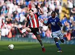 Billy Sharp of Sheffield Utd attempts to control the ball during the championship match at St Andrews Stadium, Birmingham. Picture date 21st April 2018. Picture credit should read: Simon Bellis/Sportimage