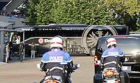 Mannschaftsbus von Eintracht Frankfurt wird ins Stadion begleitet - 22.08.2019: Racing Straßburg vs. Eintracht Frankfurt, UEFA Europa League, Qualifikation, Commerzbank Arena<br /> DISCLAIMER: DFL regulations prohibit any use of photographs as image sequences and/or quasi-video.