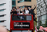 Sheffield Utd players during the open top bus parade from Bramall Lane Stadium to Sheffield Town Hall, Sheffield. Picture date: May 2nd 2017. Pic credit should read: Simon Bellis/Sportimage