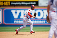 Reading Fightin Phils shortstop Malquin Canelo (6) fields a ground ball during the second game of a doubleheader against the Portland Sea Dogs on May 15, 2018 at FirstEnergy Stadium in Reading, Pennsylvania.  Reading defeated Portland 9-8.  (Mike Janes/Four Seam Images)