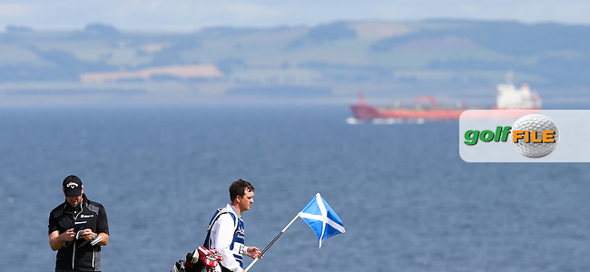 Firth of Forth backdrop to the 10th with Craig Lee (SCO) &amp; caddie Stevie during Round Three of the 2015 Aberdeen Asset Management Scottish Open, played at Gullane Golf Club, Gullane, East Lothian, Scotland. /11/07/2015/. Picture: Golffile | David Lloyd<br /> <br /> All photos usage must carry mandatory copyright credit (&copy; Golffile | David Lloyd)