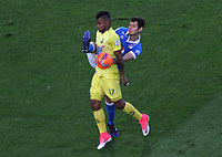BOGOTA -COLOMBIA, 4-06-2017. Pedro Franco Jhony Cano player of Atletico Bucaramanga Action game between  Millonarios  and Atletico Bucaramanga  during match for quarter finals of the Aguila League I 2017 played at Nemesio Camacho El Campin stadium . Photo:VizzorImage / Felipe Caicedo  / Staff