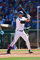 Matt Duffy (5) of the Texas Rangers at bat during a Cactus League Spring Training game against the Los Angeles Dodgers on March 8, 2020 at Surprise Stadium in Surprise, Arizona. Rangers defeated the Dodgers 9-8. (Tracy Proffitt/Four Seam Images)