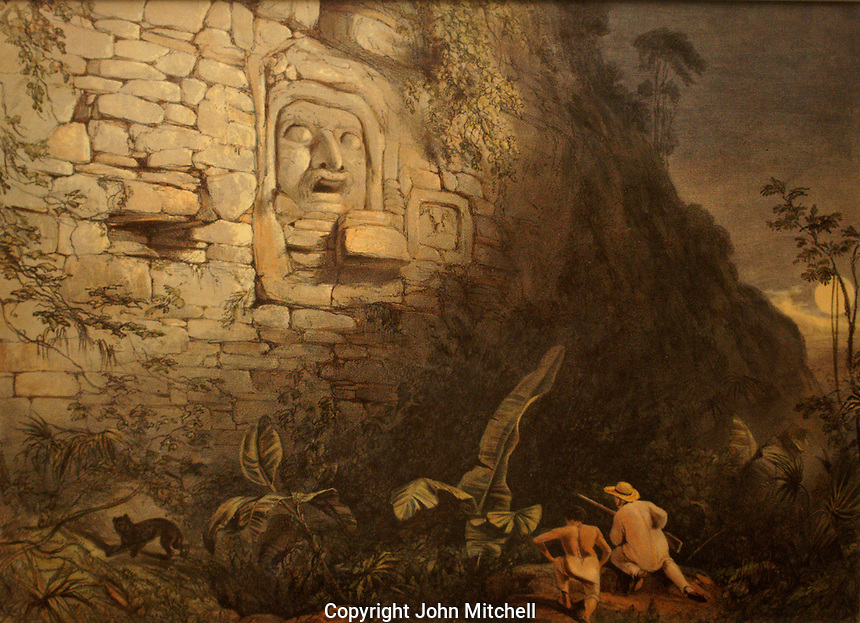 Nineteenth centur lithograph entitled Colossal Head at Izamal by Frederick Catherwood in the Casa Catherwood in Merida, Yucatan, Mexico